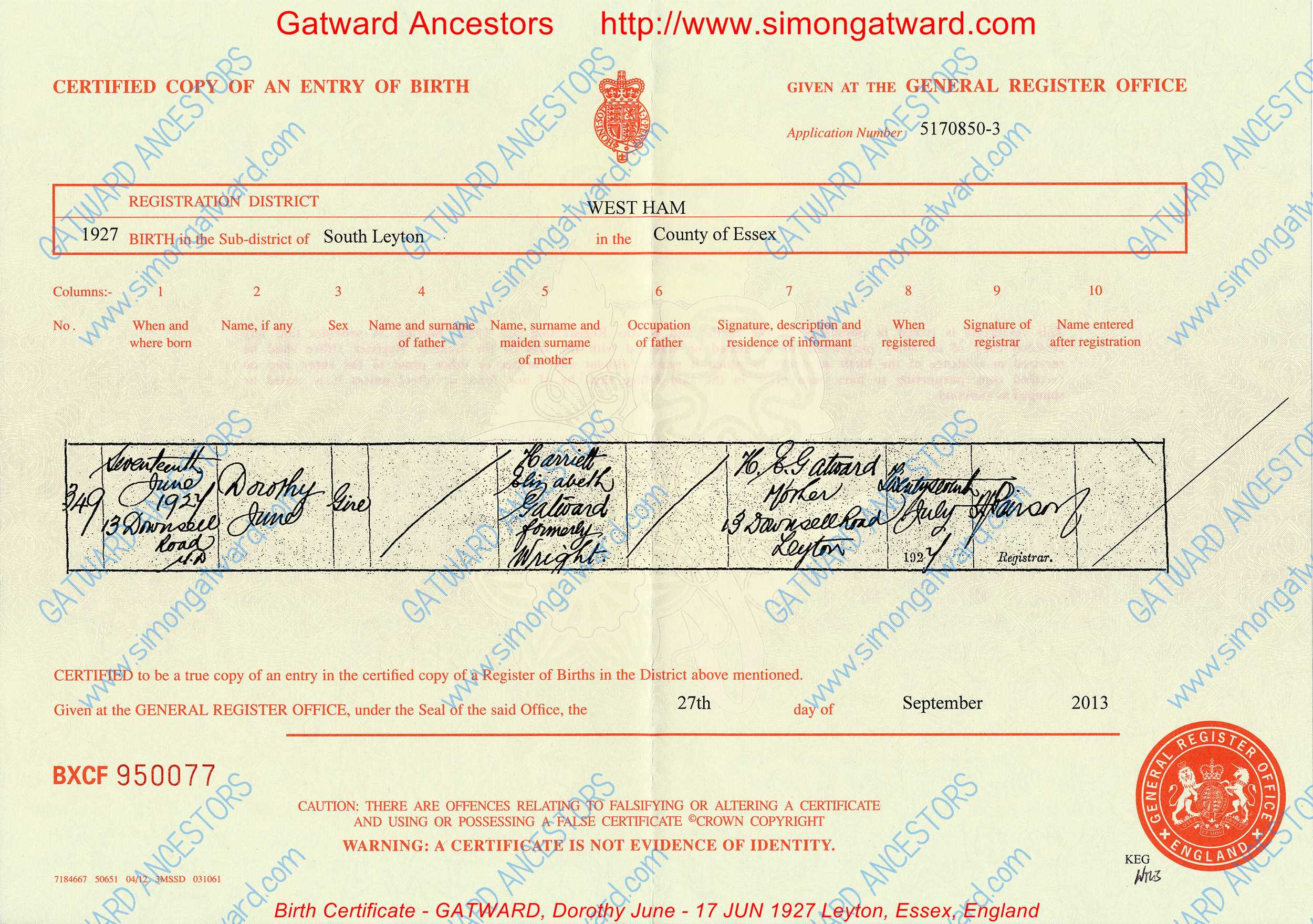 Birth certificate gatward dorothy june 17 jun 1927 - General register office birth certificate ...